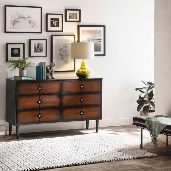 Allen Black and Cherry 6-drawer Mid-century Style Dresser Mid