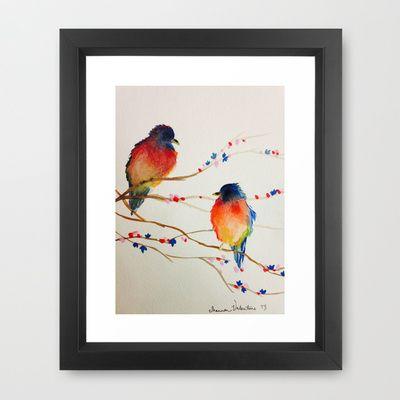 Rainbow Birds Framed Art Print by Shannon Valentine - $33.00