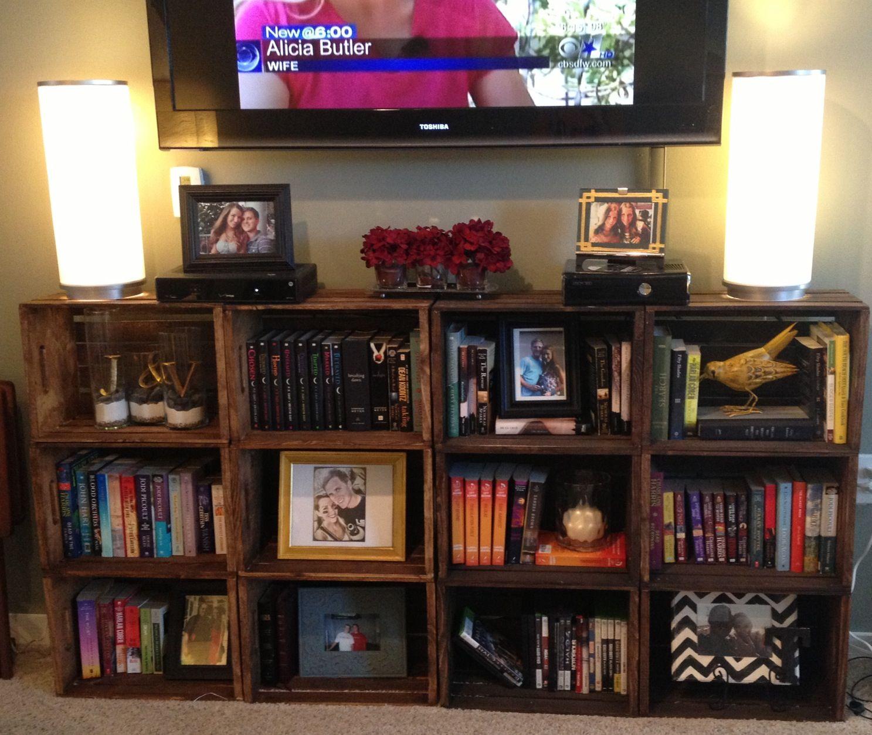 Crate Bookshelf Tv Stand Living Room Decor Diy Ideias De