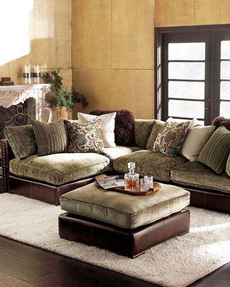 Beautiful Chenille U0026 Leather Sectional Sofa At Horchow. It Makes Me Want To Curl Up  And