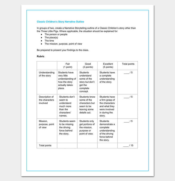childrens story outline template
