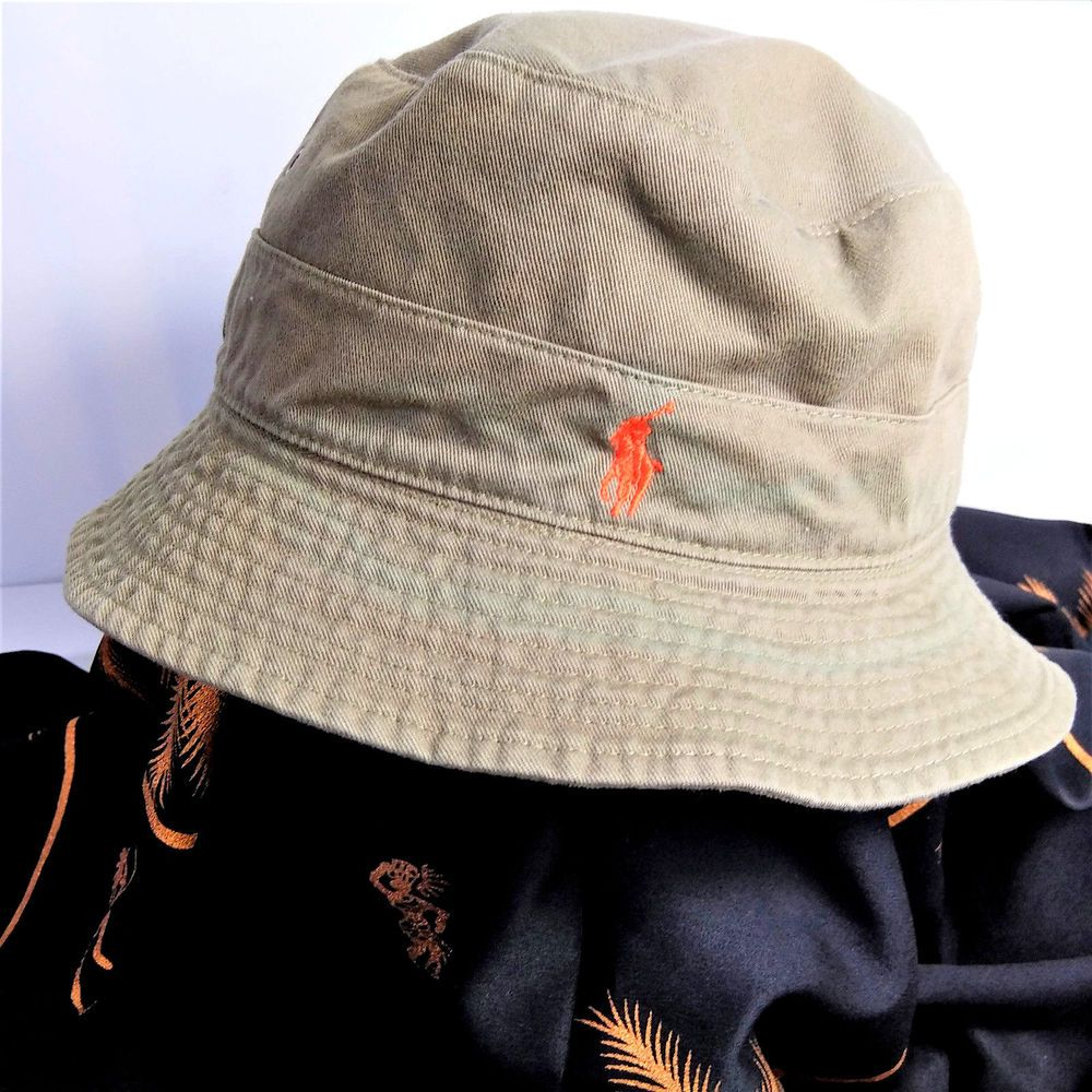 4fe95299bc95d Polo Ralph Lauren Mens Bucket Hat Size Large Tan With Orange Pony   PoloRalphLauren  BucketHat