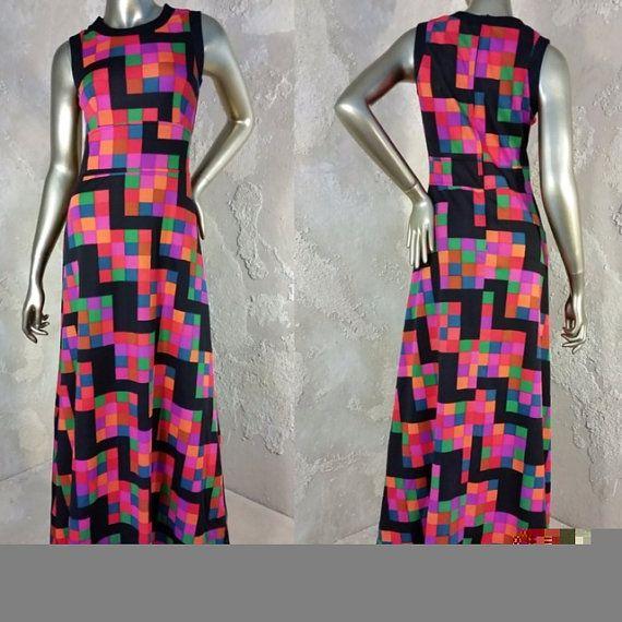 Geometric Colorful Dress  Vintage 70s Sleeveless Multi Color Pleated Midi Dress Size Medium