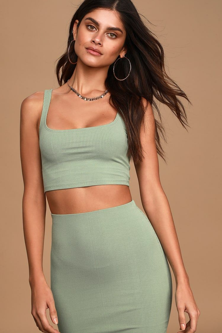Set For Life Sage Green Ribbed Bodycon Two Piece Dress Two Piece Dress Piece Dress Dresses [ 1125 x 750 Pixel ]