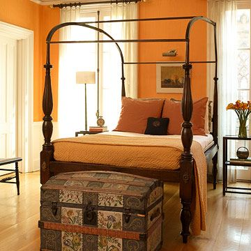 Terracotta + Peach + fabulous bed i could never afford = bliss