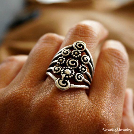 Jadzia Silver Tribal Ring Gypsy Ring Boho Jewelry by sowelljewelry