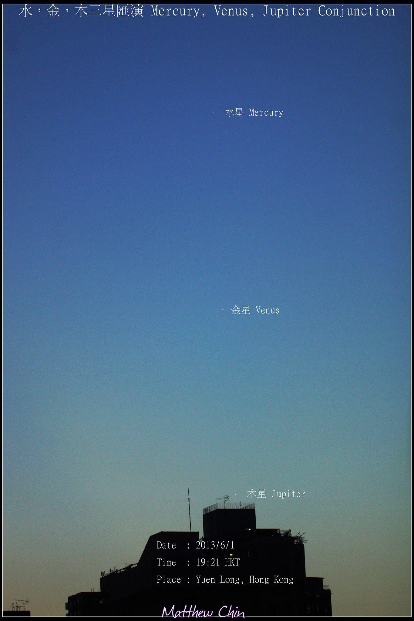 Mercury Venus And Jupiter Seen When Evening Fell In Hong Kong