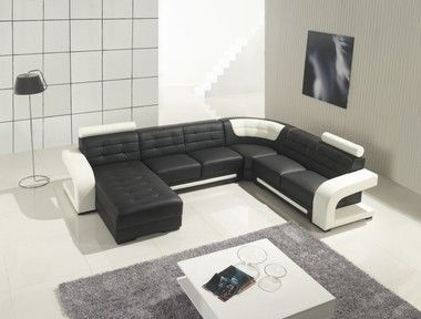 Modern Tufted Chaise Backrests U Shaped White Black Leather Sectional Sofa