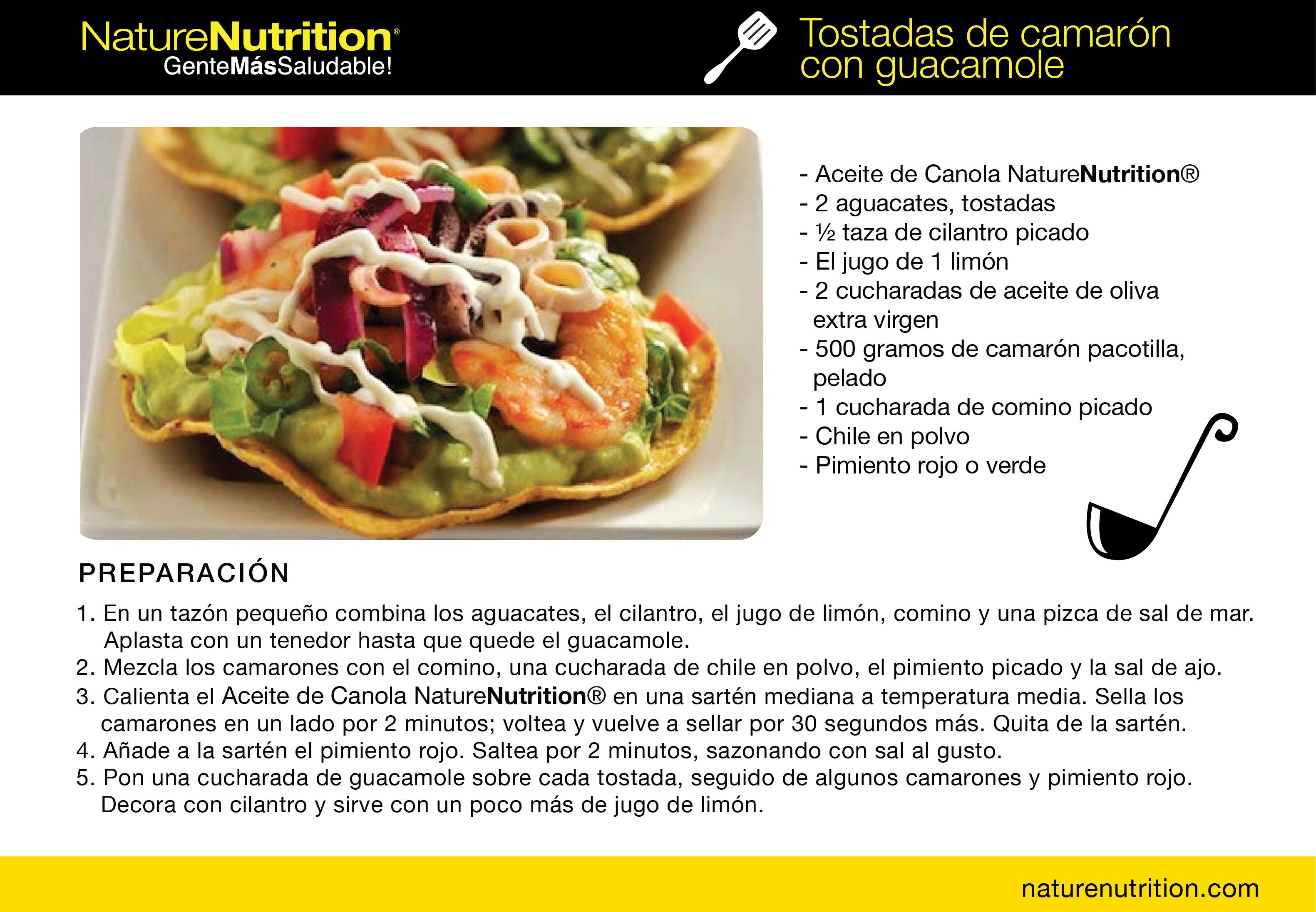 #Recetas #Saludables Tostadas de camarón con guacamole.