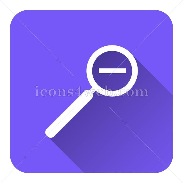 Zoom out flat icon with long shadow vector webpage icon
