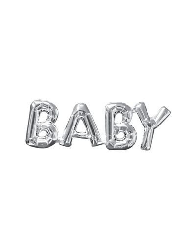 air-filled silver baby letter balloon banner 26in x 9in - party city