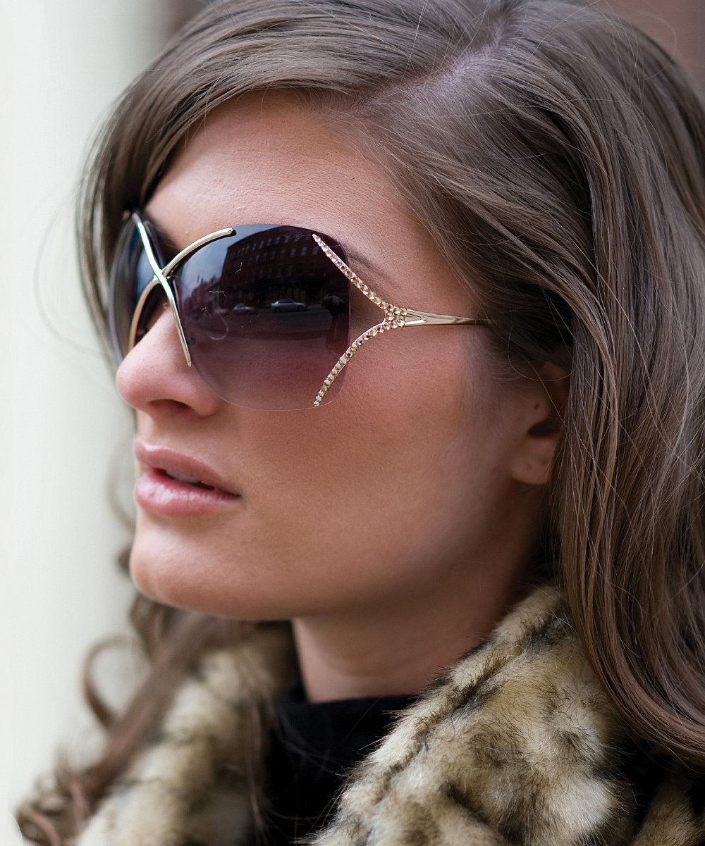 Brown & Gold Crystal-Embellished Square Sunglasses