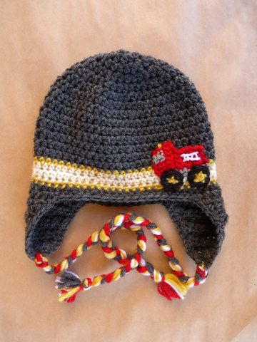 Firefighter Hat Baby Gorro De Bebé Crochet Con Carro De