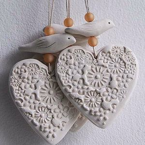 Heart and bird hangings – green and white – fawn and white – ceramic decorations-home decor