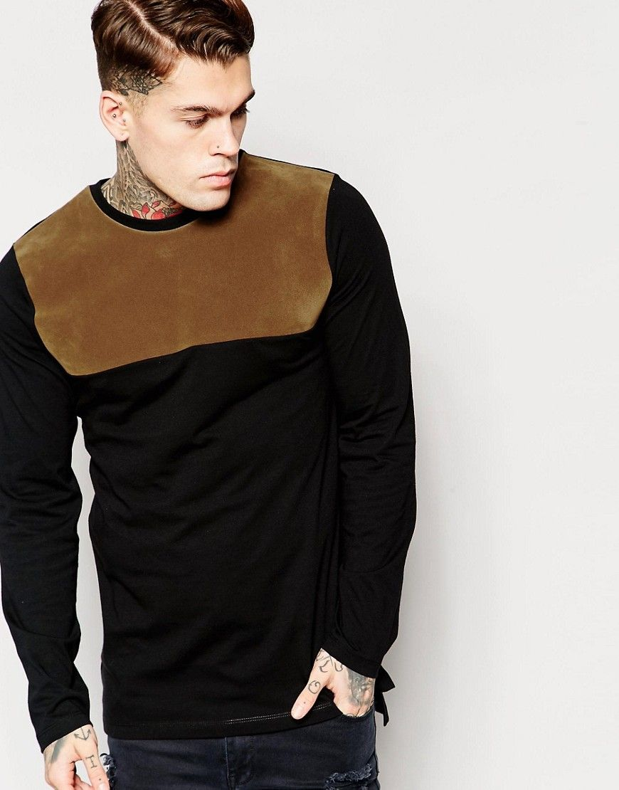 ASOS Longline Long Sleeve T-Shirt With Faux Suede Panel