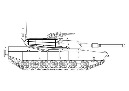 kleurplaat abrams tank