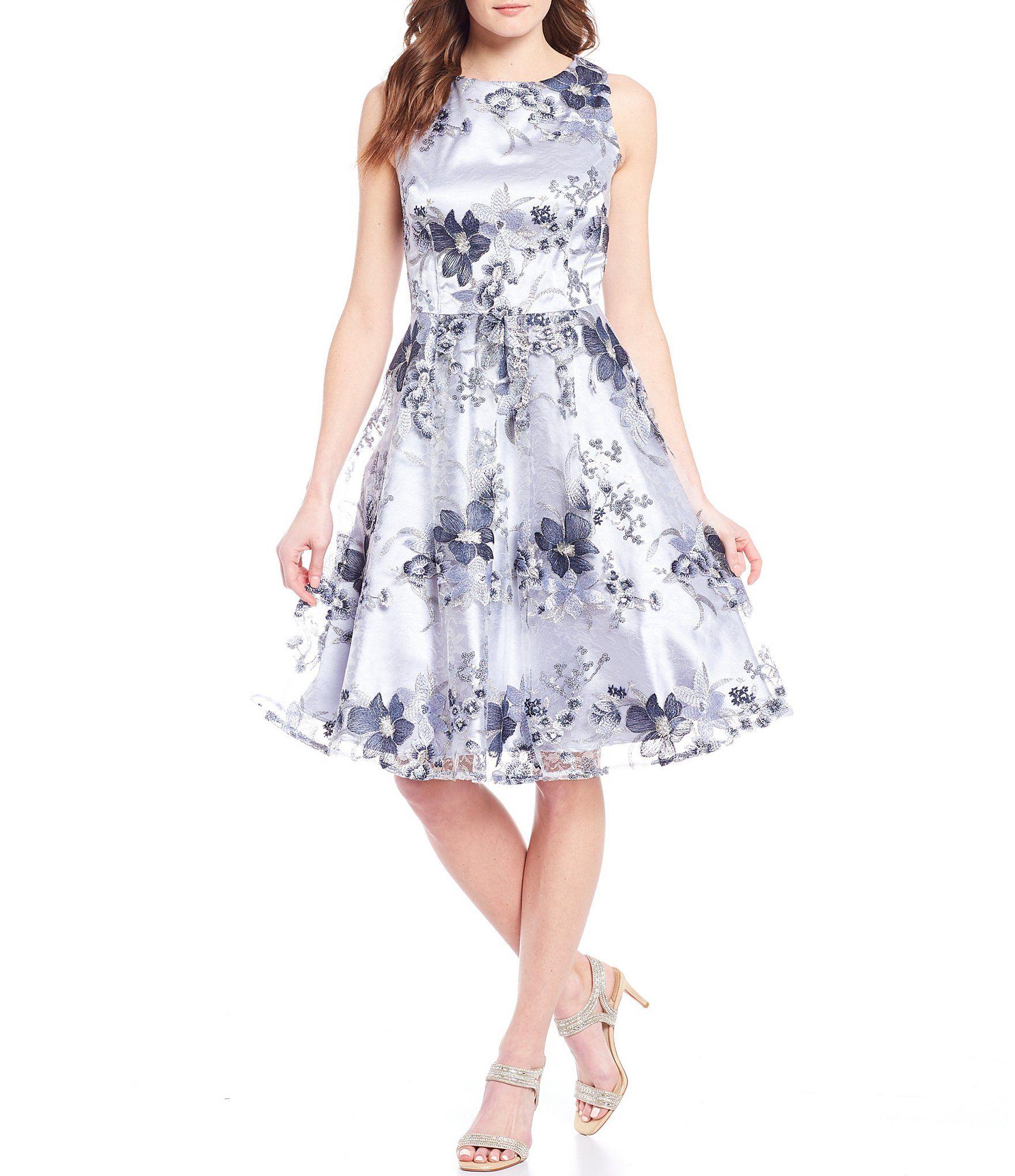 Tahari Asl Floral Embroidered Metallic Party Dress Dillard S In 2020 Metallic Party Dresses Womens Midi Dresses Embroidered Dress