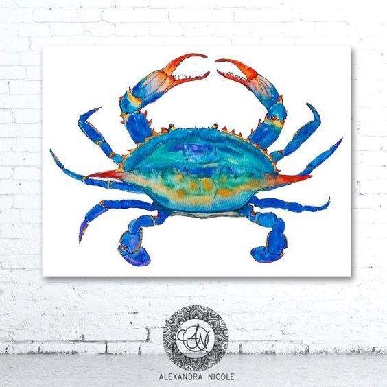 Crab hand painted Metal wall hanging brown//blue sea life decor