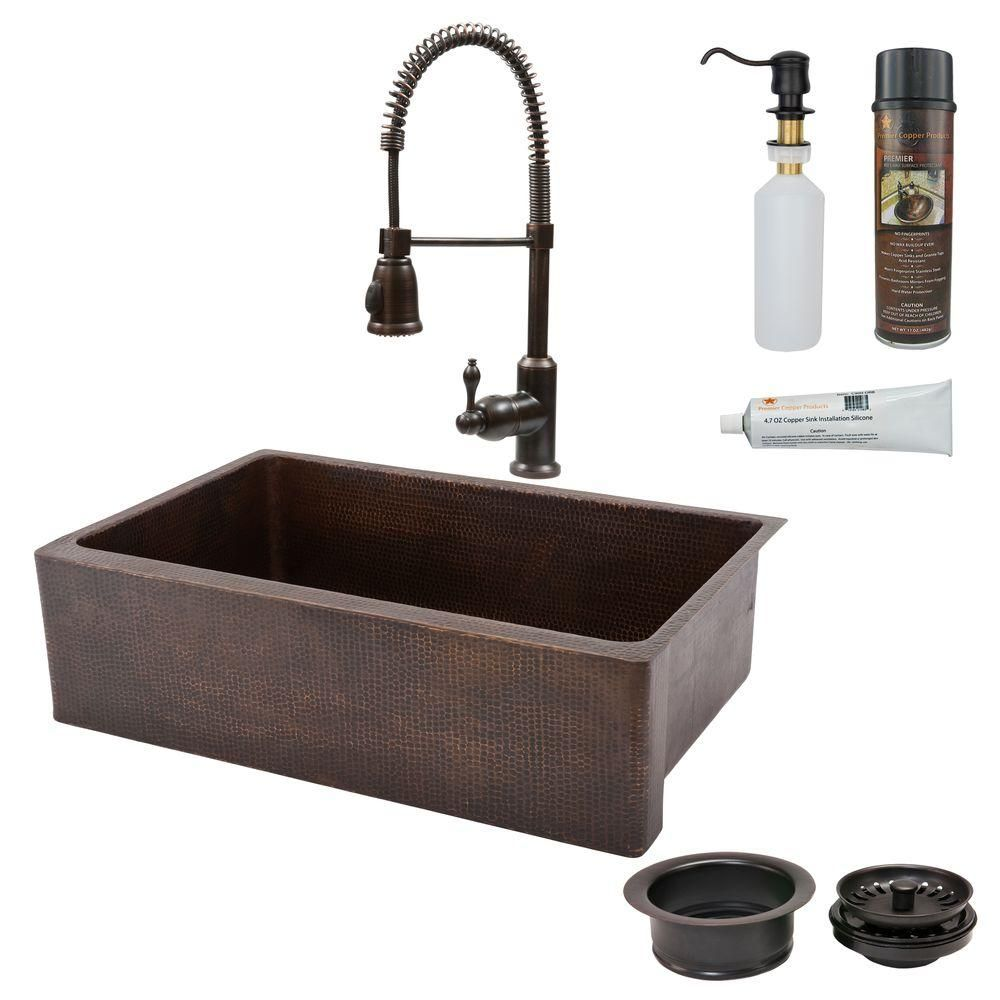 All In One Undermount Copper 33 0 Hole Single Bowl Kitchen Sink Oil Rubbed Bronze