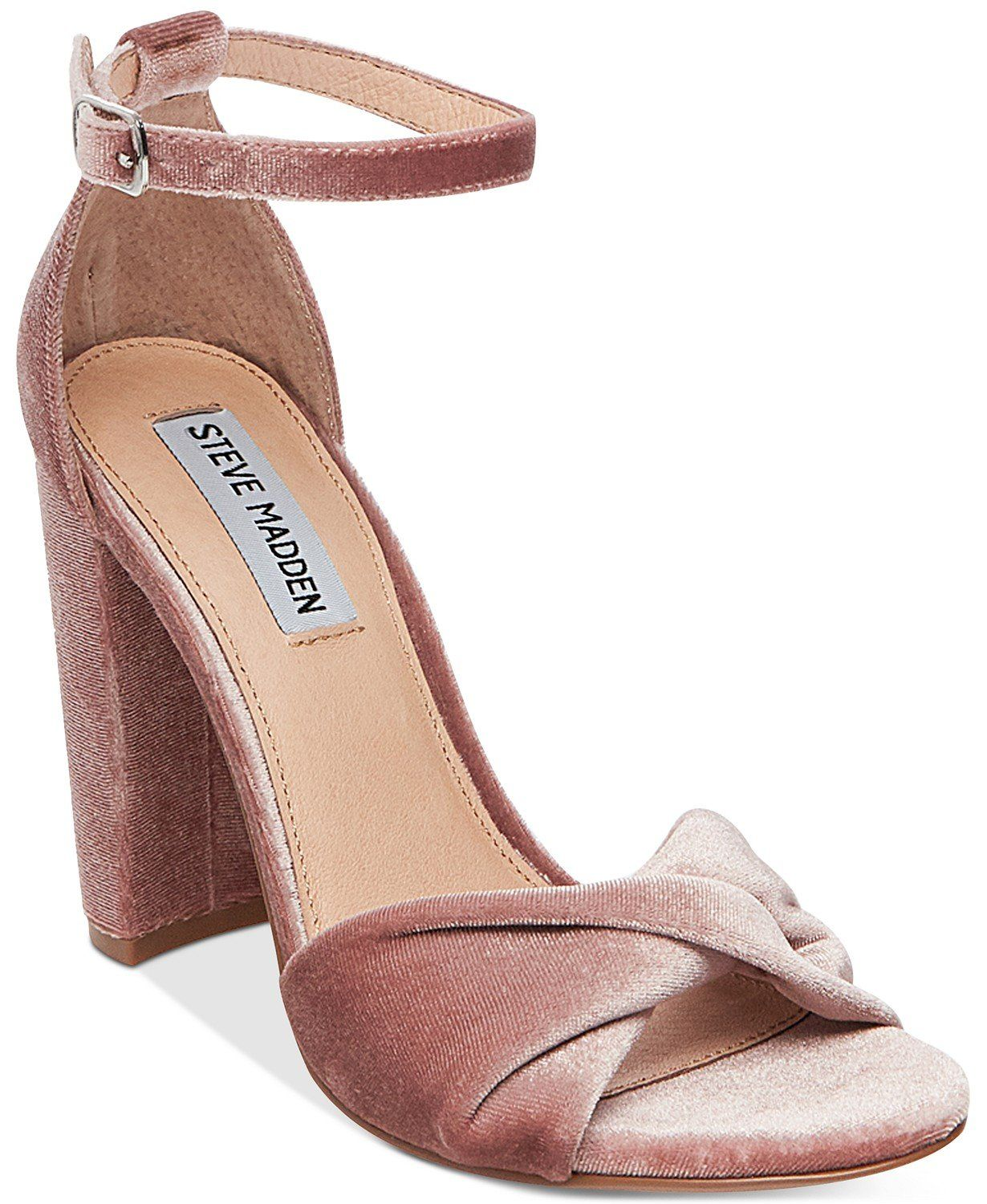 255f5b1c634 Steve Madden Womens Clever Block-Heel Sandals (Blush Velvet, 11) in ...
