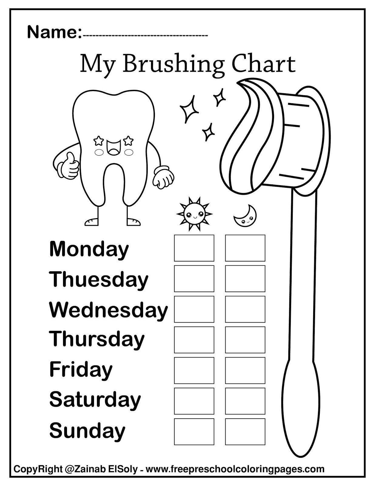 Dentist Worksheets For Kindergarten Brushing Teeth
