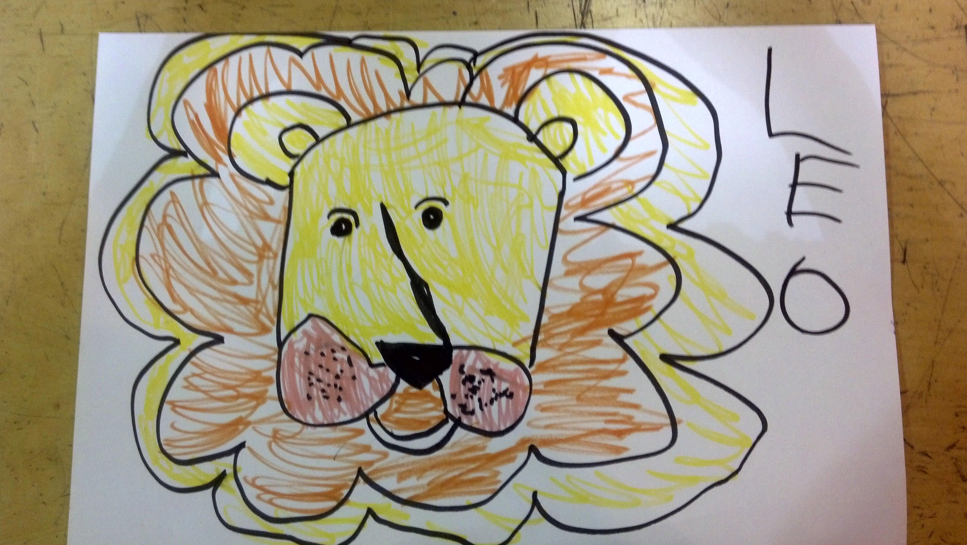 Leo the Lion from KidzArt's preschool drawing class at The Studio at Rush Creek in Maple Grove, MN.