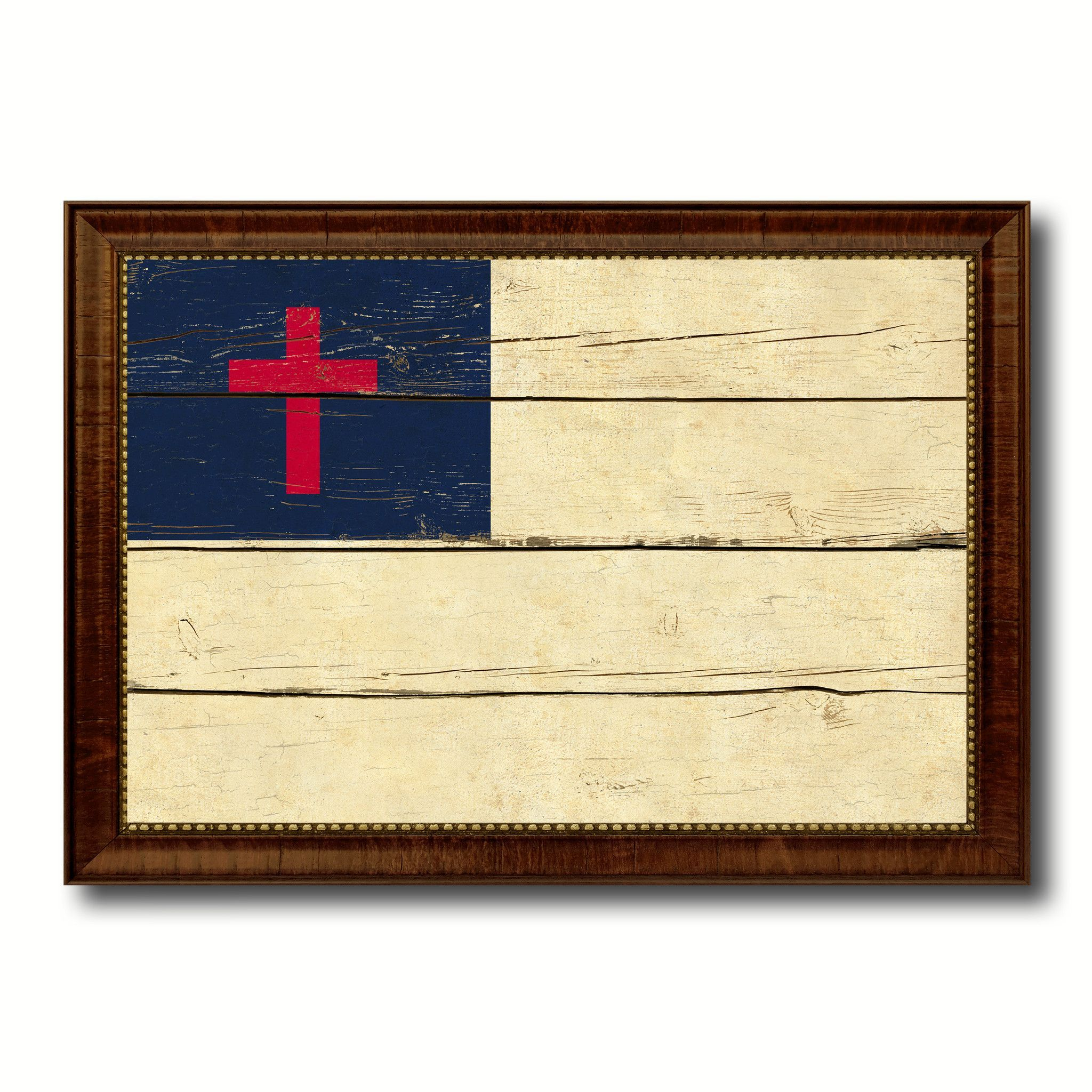 Kayso Christian Religious Military Vintage Flag Brown Picture Frame ...
