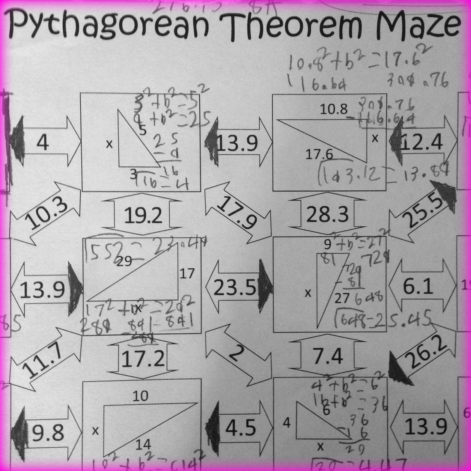 Pythagorean Theorem Maze 8th Grade Math Worksheets Activities