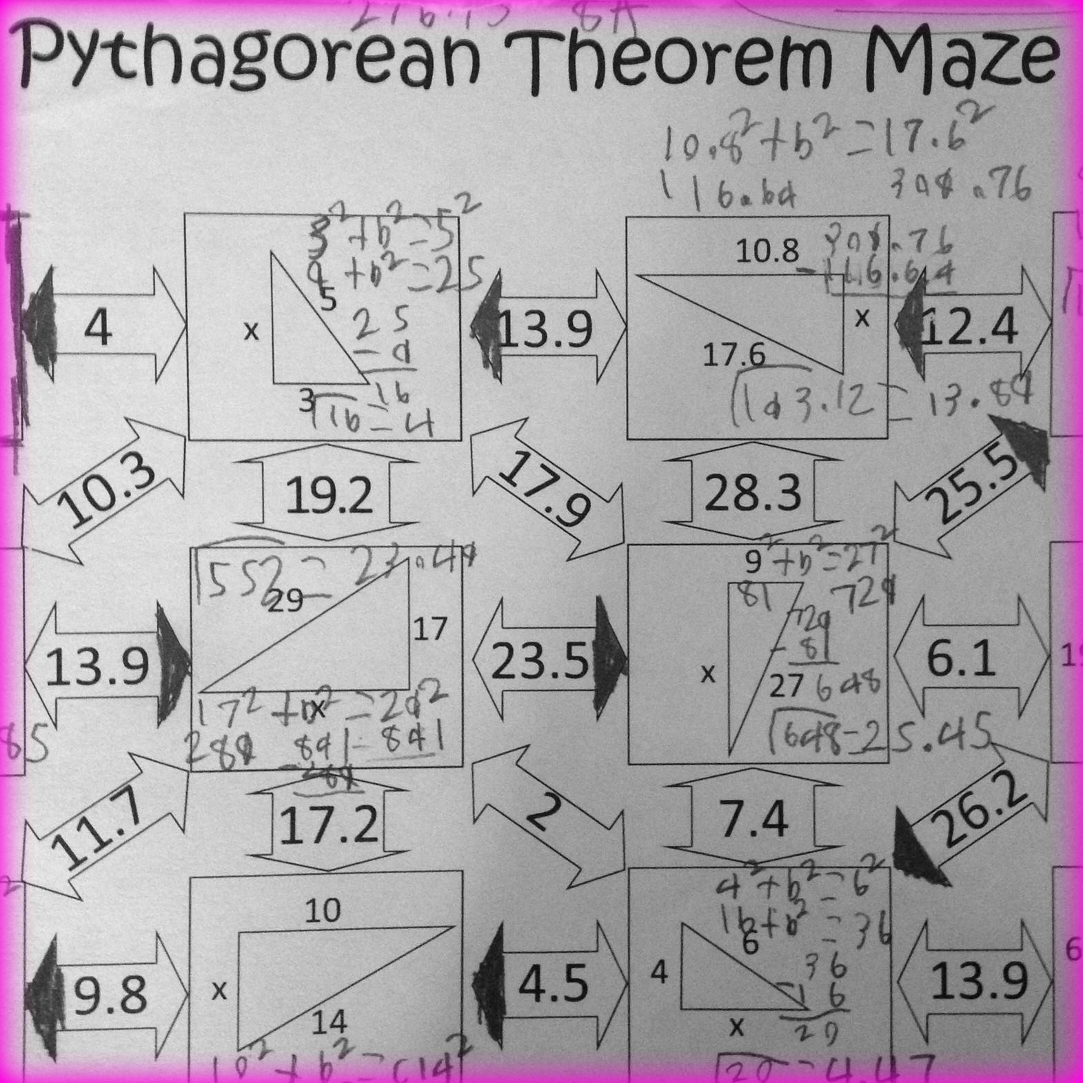 hight resolution of Pythagorean Theorem Worksheet - Maze Activity   Word problem worksheets