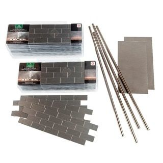 Aspect 12x4 Inch Subway Stainless Matted Metal 15 Square Foot Kit Metallic Wall Tiles Metallic Backsplash Metal Tile