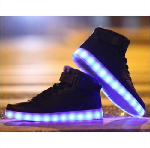 Fashion womens LED Light 8 Color High-top Lace Up Round Toe Casual sneaker Shoes #other #FashionSneakers