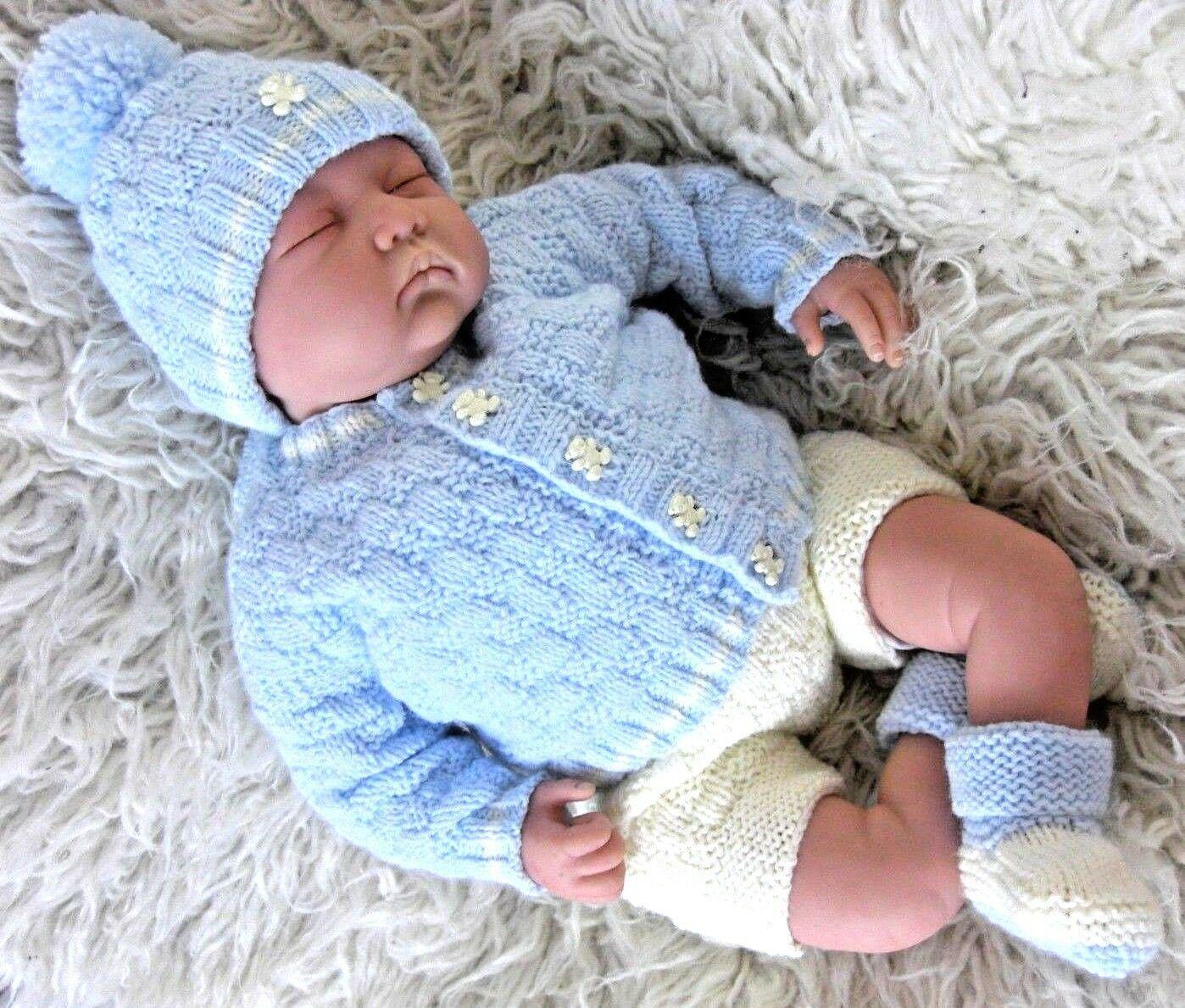 DK knitting pattern to knit modern girls  cardigan hat booties set easy