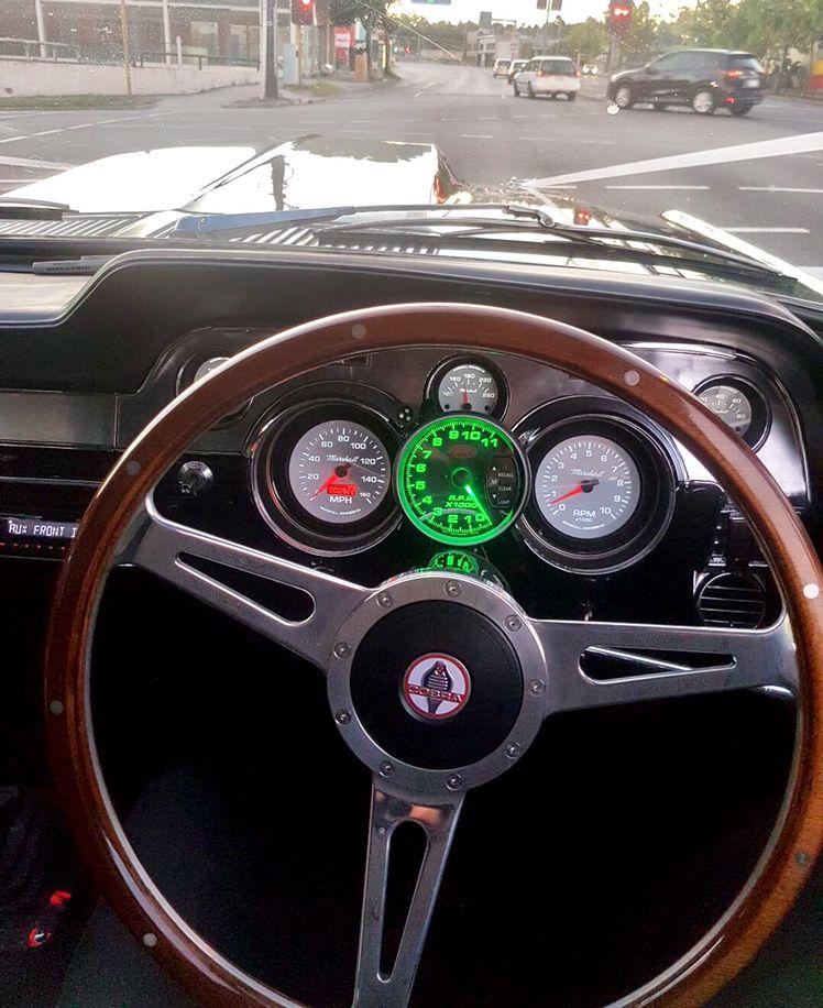 Steering Wheel Dash And Interior Detail Of Mustangs In Black 1967