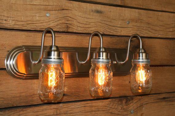 Vanity Light Wall Sconce - Brushed Nickel 3 Mason Jar Bathroom Light ...