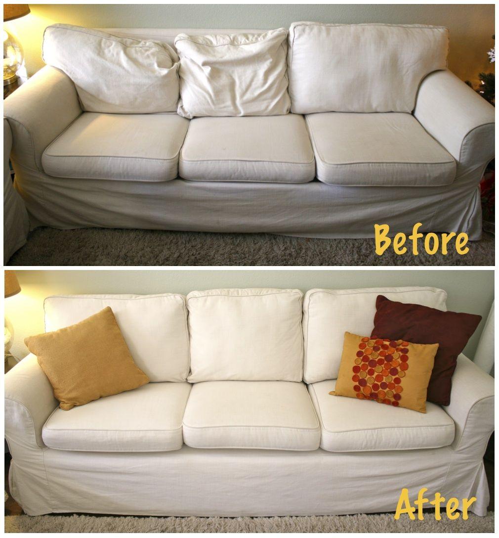 My Inexpensive Couch Refurbish Cushions On Sofa Refurbished