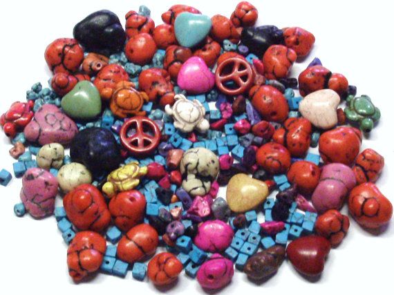 Mixed Lot of Howlite and Magnesite Stone Beads by BeadsFromHaven, $5.80