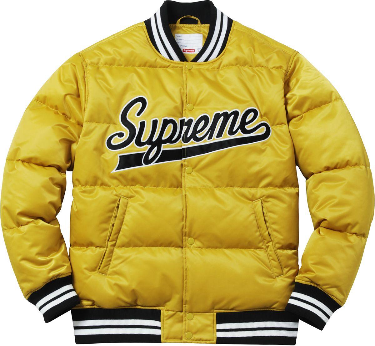 Supreme F W 2016 Script Varsity Puffy Jacket Mens Outdoor Jackets Varsity Jacket Men Puffy Jacket [ 1106 x 1200 Pixel ]
