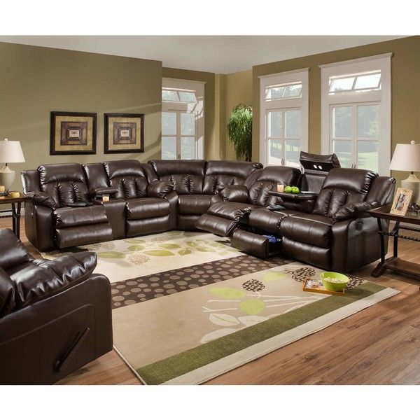 Simmons Upholstery Sebring Coffeebean Motion Sectional with Storage Console andu2026  sc 1 st  Pinterest : simmons red leather sectional - Sectionals, Sofas & Couches