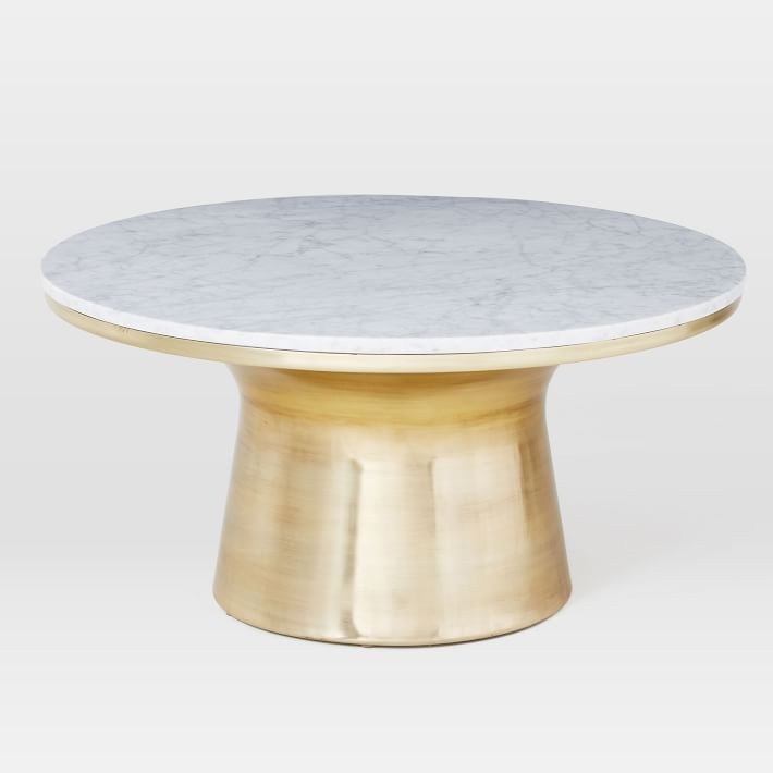 West ElmWhite MarbleAntique Brass Coffeetableproject - Brushed brass side table