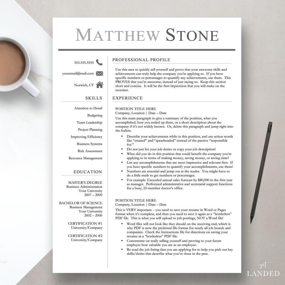Professional Resume Template For Word Pages One Two And Three Page Resume Temp Executive Resume Template Resume Template Professional Resume Template Word