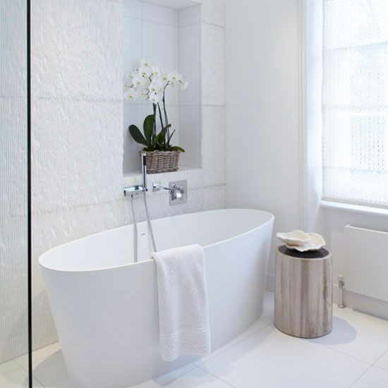 Tiled For Bathrooms looking good bath mat | white tile bathrooms, freestanding bath