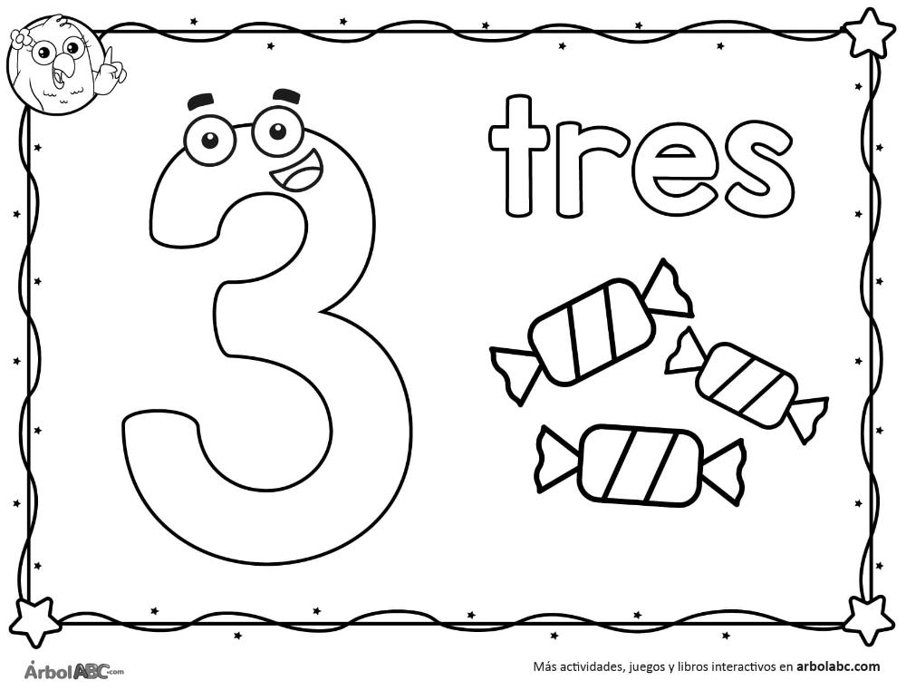 Numero 3 Para Colorear Arbol Abc En 2020 Numero 3 Para Colorear Numero Para Colorear Imprimibles Para Preescolar