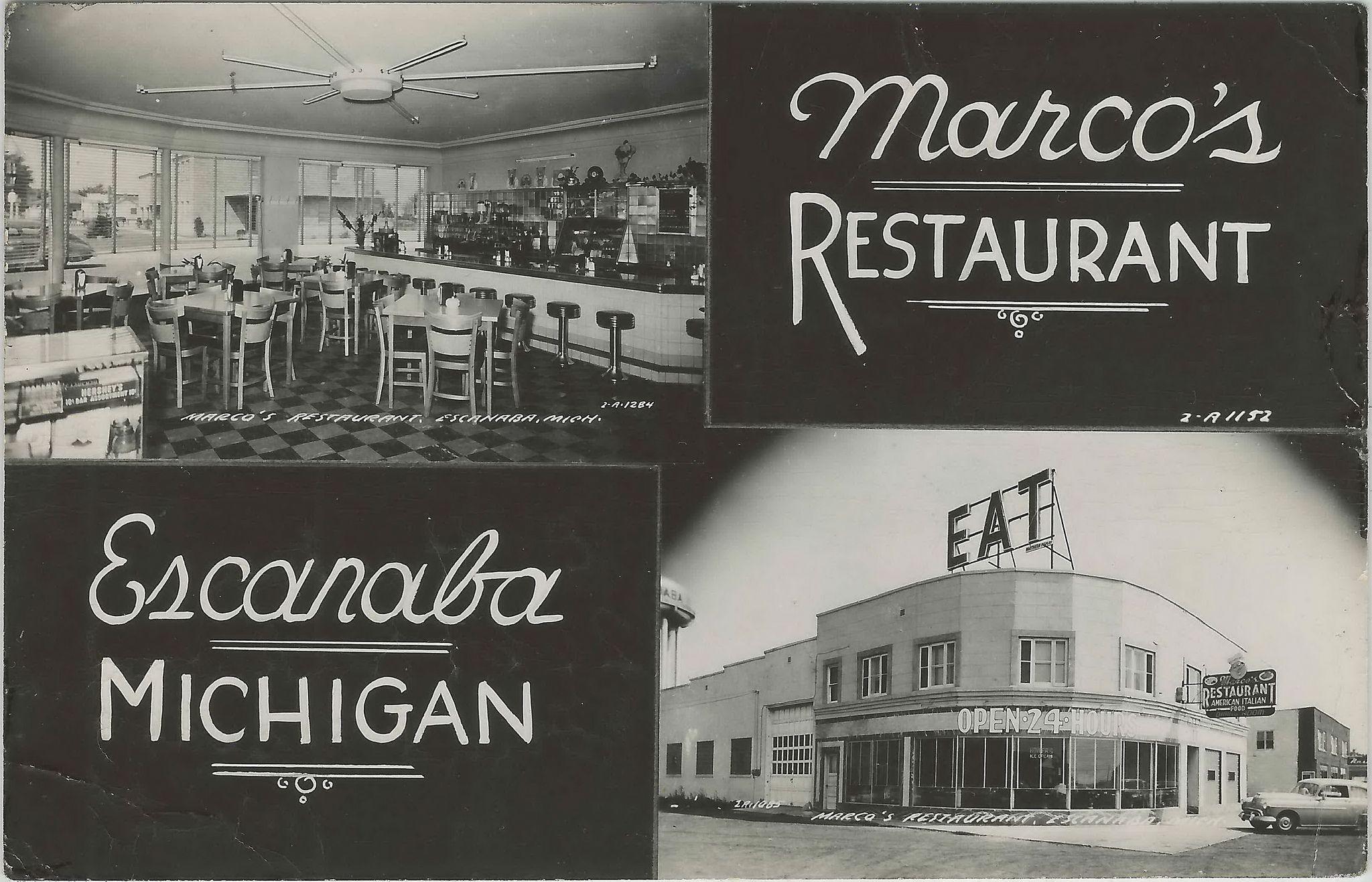 Up Escanaba Mi Rppc 1940s Rare Downtown View Marcos American Italian Restaurant Interior Exterior Great Photographer Unk Escanaba Michigan Escanaba Photo Postcards