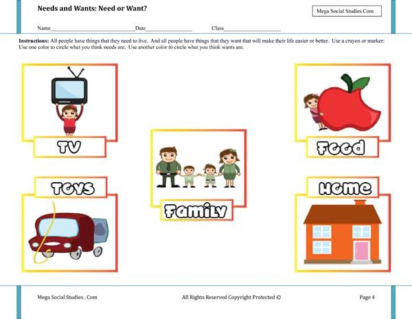Needs And Wants Need Or Want Worksheet Economics For Kids Kids Economics
