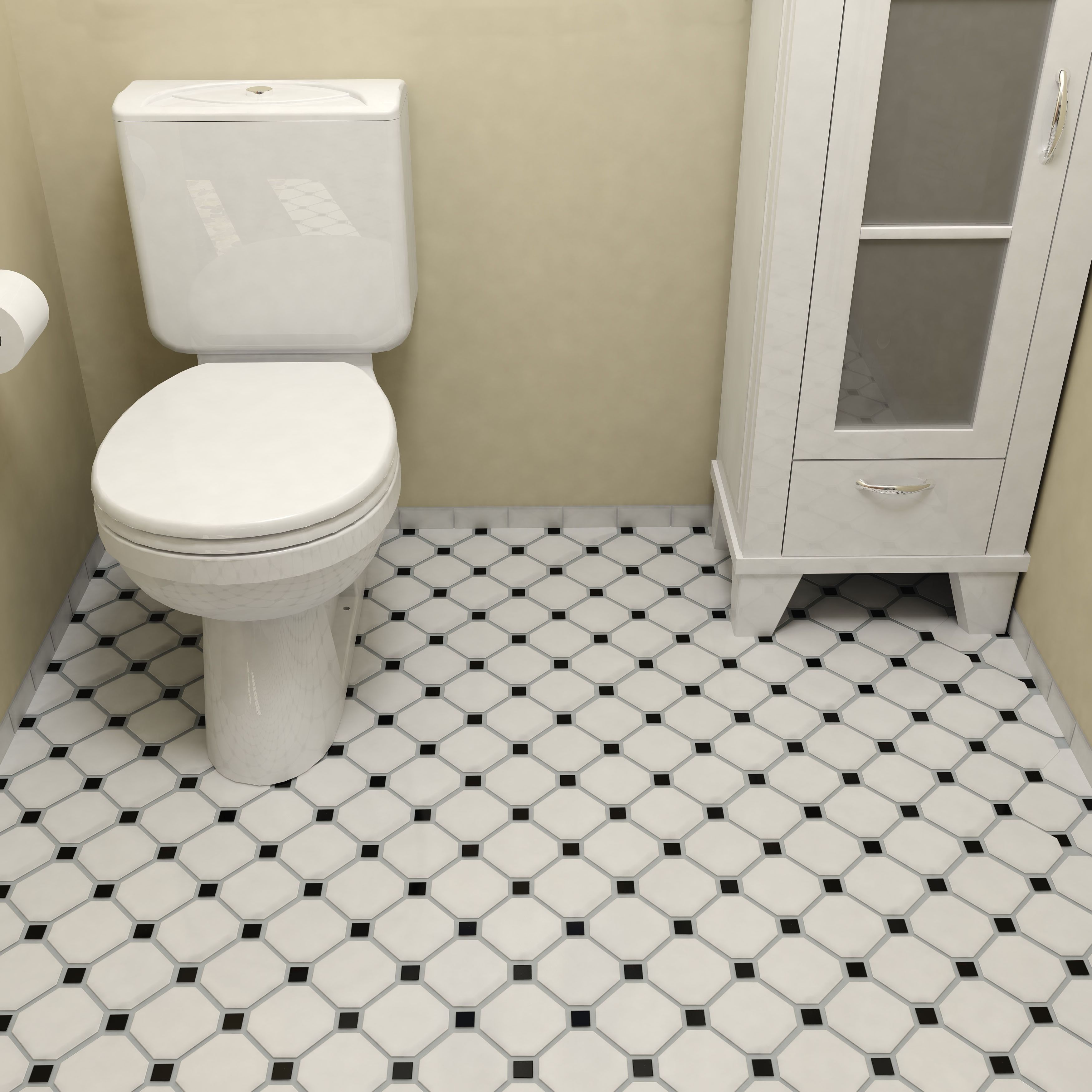Somertile 11625x11625 inch victorian octagon matte white with somertile 11625x11625 inch victorian octagon matte white with black dot porcelain mosaic dailygadgetfo Image collections