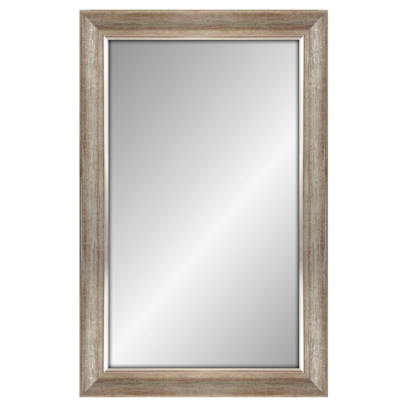 Threshold rectangle decorative wall mirror white finish with silver
