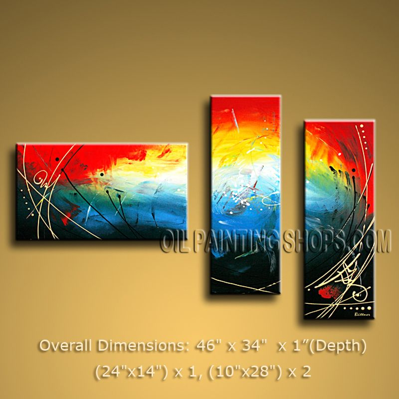 Hand-painted Triptych Modern Abstract Painting Wall Art Contemporary ...