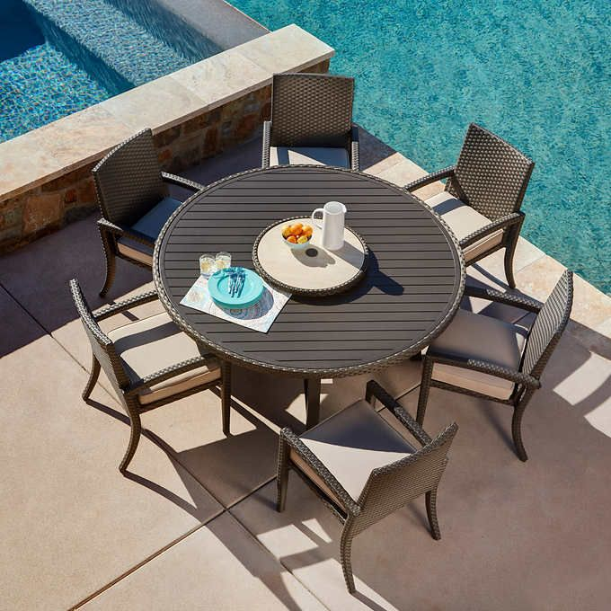 Sidney 7 Piece Round Dining Set By, Mission Hills Patio Furniture