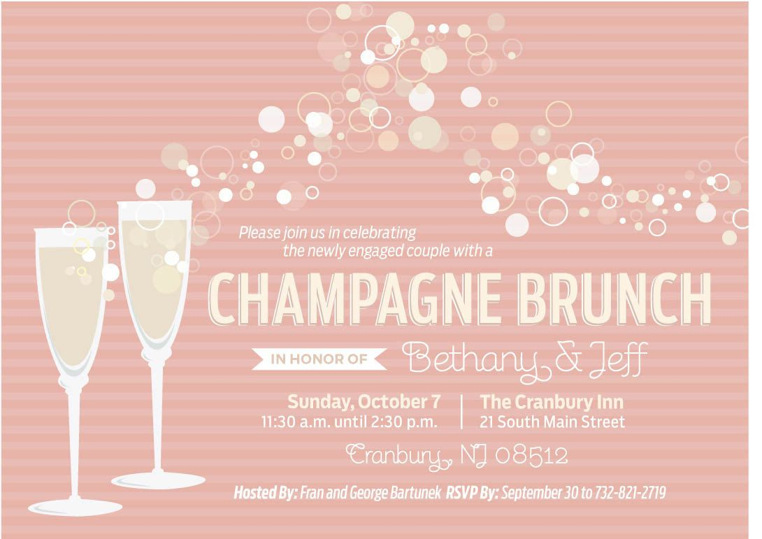 Champagne brunch invitations 3 different options for Champagne brunch bridal shower