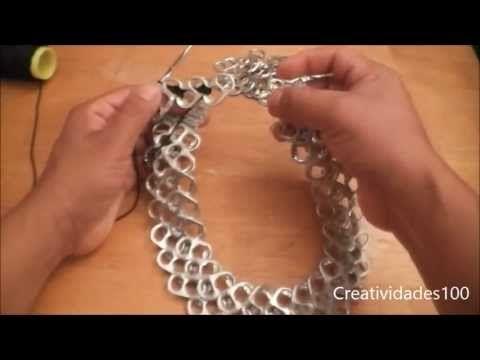 youtube hacer collares con chapas de latas